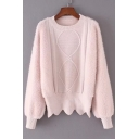 Lazy Style Simple Plain Round Neck Long Sleeve Pullover Sweater
