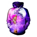 Chic 3D Galaxy Giraffe Print Pocket Long Sleeve Hoodie