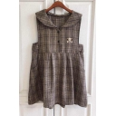 Cute Tartan Plaids Dog Embroidery Sleeveless Navy Collar Mini Belted Smock Dress
