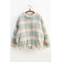 Winter Collection Button Down Long Sleeves Loose Cocoon Baseball Jacket with Pockets