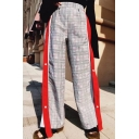 Stylish Tartan Plaids Color Block Button Embellished Elastic Waist Wide Leg Pants