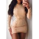 Sexy Collared Long Sleeve String Detail Mini Bodycon Dress