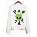 Fashion Letter Alien Print Round Neck Long Sleeve Sweatshirt