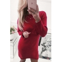 Casual Round Neck Long Sleeves Split-Side Hem Pullover Mini Sweater Dress
