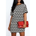 New Stylish Plaid Print Short Sleeve Round Neck Mini Dress