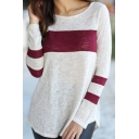 Chic Color Block Print Long Sleeve Round Neck Tee