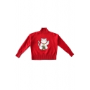 Lovely Cat Pattern High Neck Long Sleeve Girls' Casual Sweater