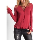 Leisure V-Neck Lace-up Front Long Bell Sleeves Ruffle Hem Slim-Fit T-shirt