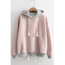 New Stylish Color Block Letter Print Long Sleeve Drawstring Waist Hoodie