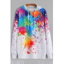 Fancy Oil Splash Pattern Long Sleeves Pullover Loose Casual Hoodie with Pocket