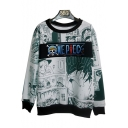Hot Fashion Manga Letter Print Round Neck Long Sleeve Pullover Sweatshirt for Couple