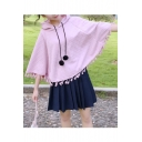 Girly Plain Loose 3/4 Sleeves Pullover Hooded Cape Trimmed with Pompoms