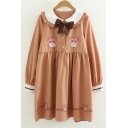 Lovely Cartoon Bear Print Bow Front Long Sleeve Collared Dress