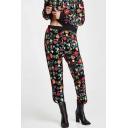 Fashion Floral Print Elastic Waistband Leisure Velvet Cropped Pants
