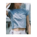Casual Letter Pattern Round Neck Short Sleeves Summer Cropped T-shirt Top