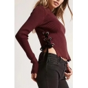 Casual Round Neck Long Sleeves Attached Lacing Side Cropped Pullover Sweater