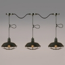 Industrial 3 Light Multi Light Pendant with Metal Cage in Black Finish