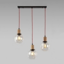 Industrial 3 Light Multi-Light Pendant Light with Glass Shade, Clear/Smoke/Amber, 20''W