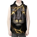 Fashionable Lightning Lion Printed Sleeveless Pullover Unisex Hoodie