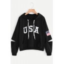Casual Letter Flag Printed Cutout Hollow Long Sleeves Pullover Hoodie