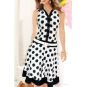 Fashion Polka Dot Print Belted Waist Lapel Tank Dress