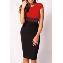 Chic Lace Insert Color Block Print Round Neck Short Sleeve Bodycon Dress