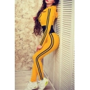Fancy Contrast Waist Striped Side Pattern Zippered Hooded Slim-Fit Jumpsuit