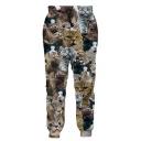 Hot Fashion 3D Cat Print Drawstring Waistband Pants