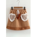 Ruffle Plaid Print Drawstring Waist Skirt with Pom-Pom