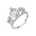 Women's Fashion Crown Shaped Diamond Gem Studded Slim Shank Ring