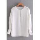 Simple Plain Round Neck Cotton Dobby Blouson Sleeves Hollow Front Loose Blouse