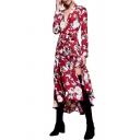 Plunge Neck Floral Printed Long Sleeve Split Front Tie Waist Maxi Dress