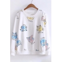 Chic Scrawl Cat Letter Print Round Neck Long Sleeve Pullover Sweatshirt