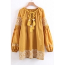 Retro Embroidered Pattern Tie Front Long Sleeve Round Neck Dress with Tassel