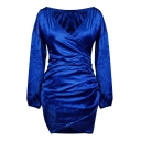 Fashionable Simple Plain Long Sleeve Wrap Front Dress