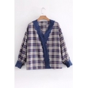 Classic Plaid Print Lace Insert V-Neck Long Sleeve Blouse