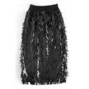New Stylish Plain Sequined Elastic Waist Midi Skirt