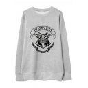 Stylish Logo Symbol Letter Printed Round Neck Long Sleeves Pullover Sweatshirt