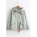 Childish Bow Tie Zippered Plain Hooded Long Sleeves Coat with Flap-Pockets