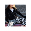 Cool Plain Notched Lapel Zippered Long Sleeves Cropped Velvet Biker Jacket with Pockets