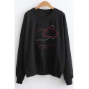 Cute Hedgehog Animal Pattern Round Neck Long Sleeves Pullover Leisure Sweatshirt