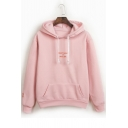 Simple Letter Embroidery Long Sleeves Pullover Leisure Hoodie with Pocket