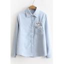 Cartoon Cat Embroidered Pocket Long Sleeve Lapel Button Down Shirt