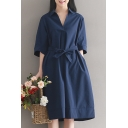 Natural Style Plain V-Neck Lapel Half Sleeves Bow Belted A-line Midi Dress