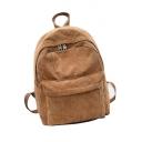 Simple Ribbed Plain Zippered Pocket Backpack School Bag