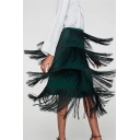 Trendy Tassel Embellished High Waist Midi Zip-Side Layered Tiered Skirt