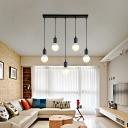 Industrial 20''W Multi Light Pendant in Simple Style, 5 Light, Black/White