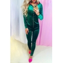 Popular Plain Velvet Zippered Hoodie with Slim-Fit Women's Skinny Pants
