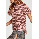 Fancy Geometric Honeycomb Block Printed High Bow Neck Dipped Hem Short Sleeves Blouse