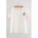 Trendy Banana Drink Embroidered Layered Cuff Ruffle Short Sleeves Summer Tee